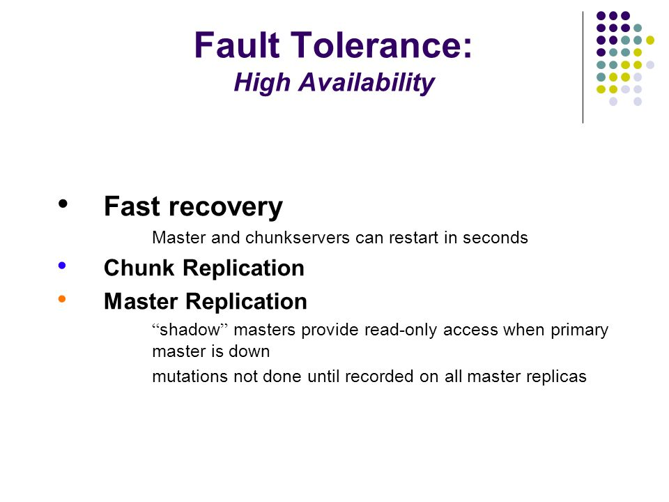 Fault Tolerance: High Availability