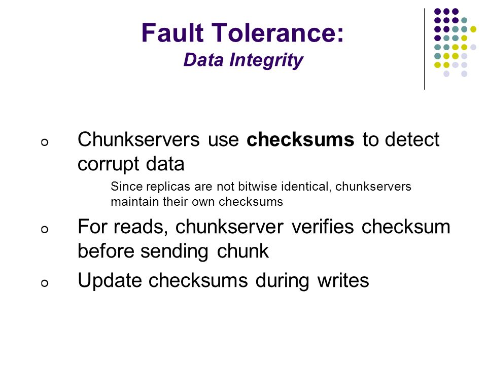 Fault Tolerance: Data Integrity