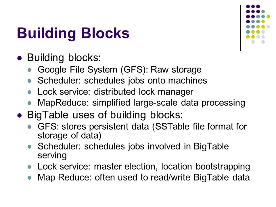 Building Blocks Building blocks: BigTable uses of building blocks: