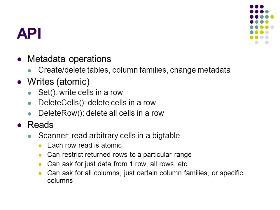 API Metadata operations Writes (atomic) Reads