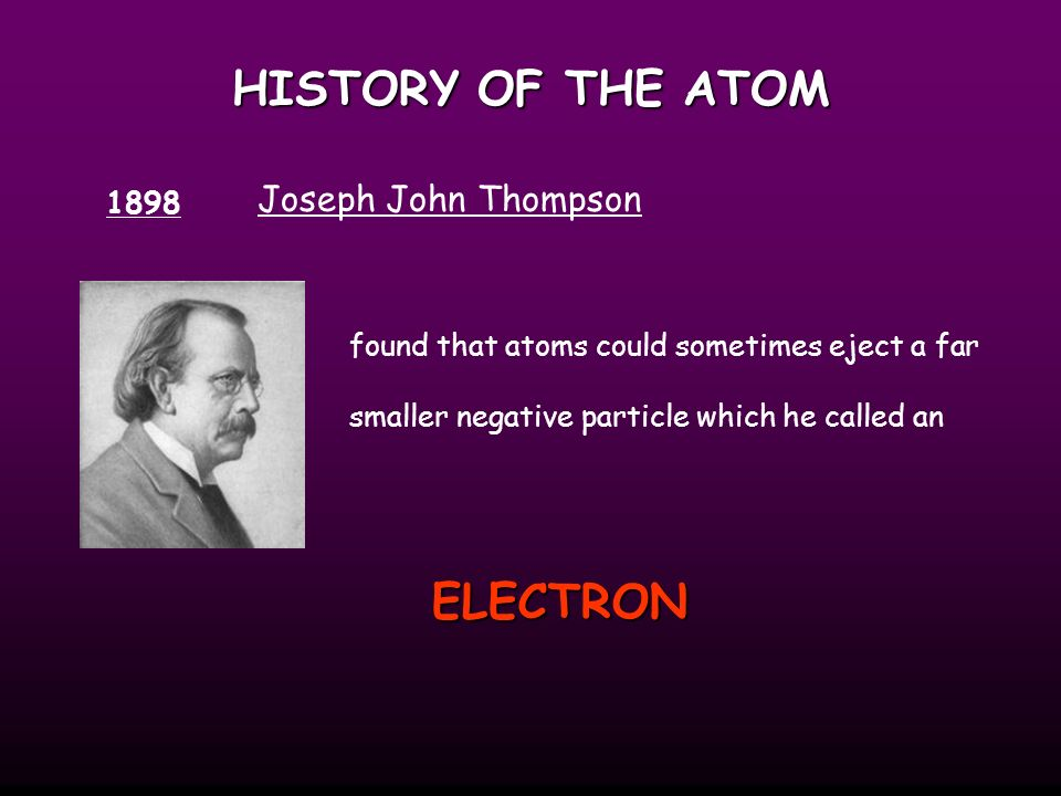HISTORY OF THE ATOM ELECTRON Joseph John Thompson 1898