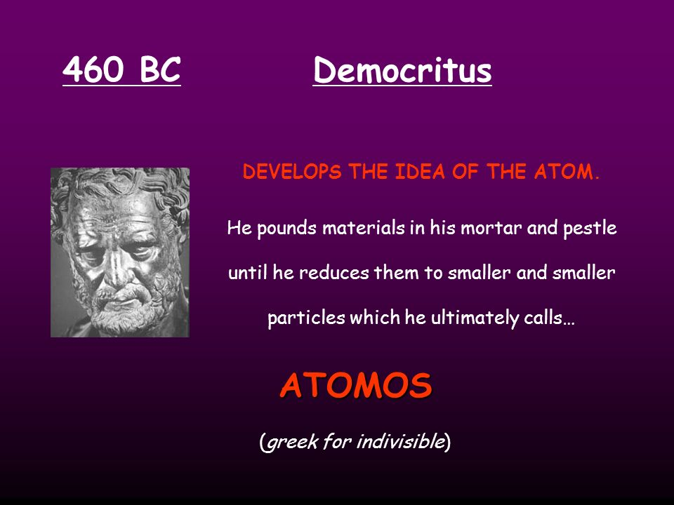 DEVELOPS THE IDEA OF THE ATOM.