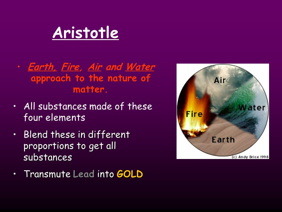 Earth, Fire, Air and Water approach to the nature of matter.
