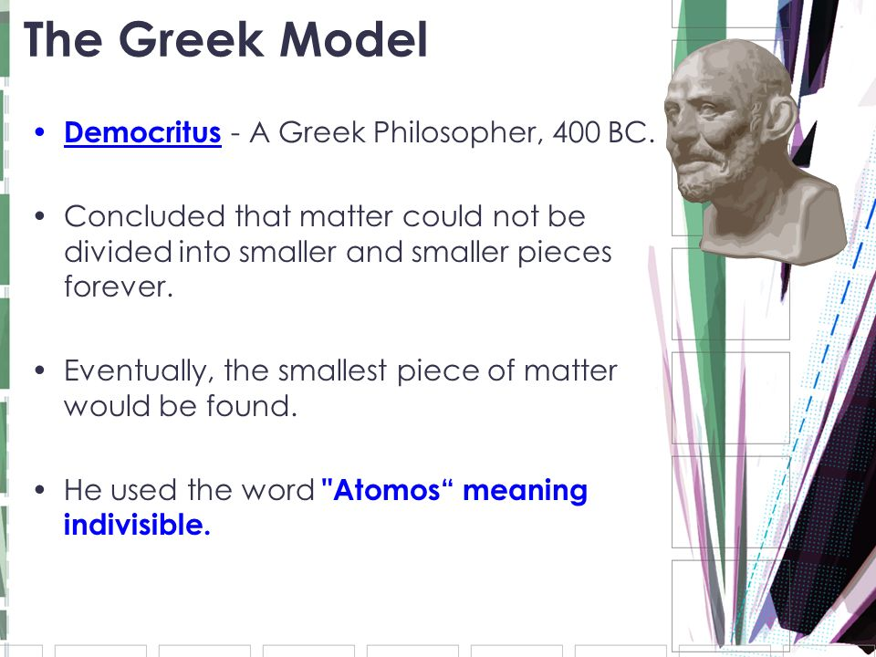 The Greek Model Democritus - A Greek Philosopher, 400 BC.
