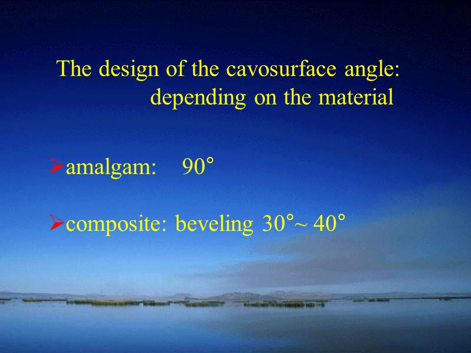 The design of the cavosurface angle: