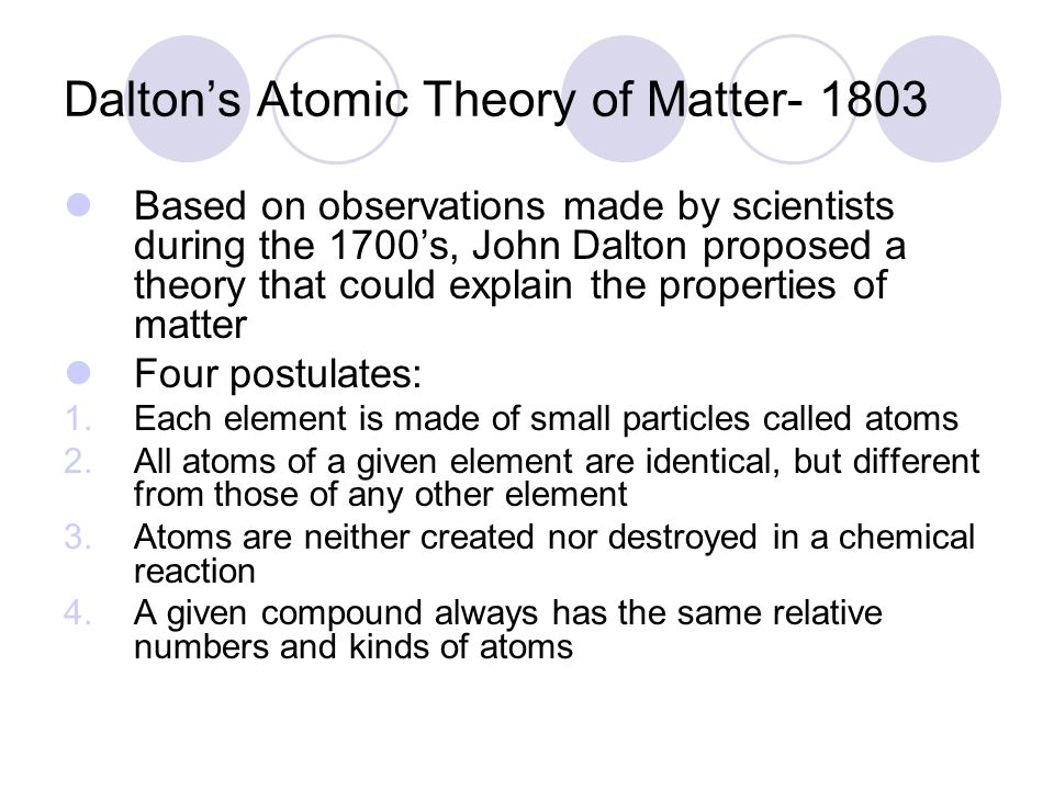an analysis of atomic theory developed by john dalton Dalton atomic theory and the development of the periodic table by mendeleev dalton's idea of matter is known as john dalton's atomic theory dalton first proposed.