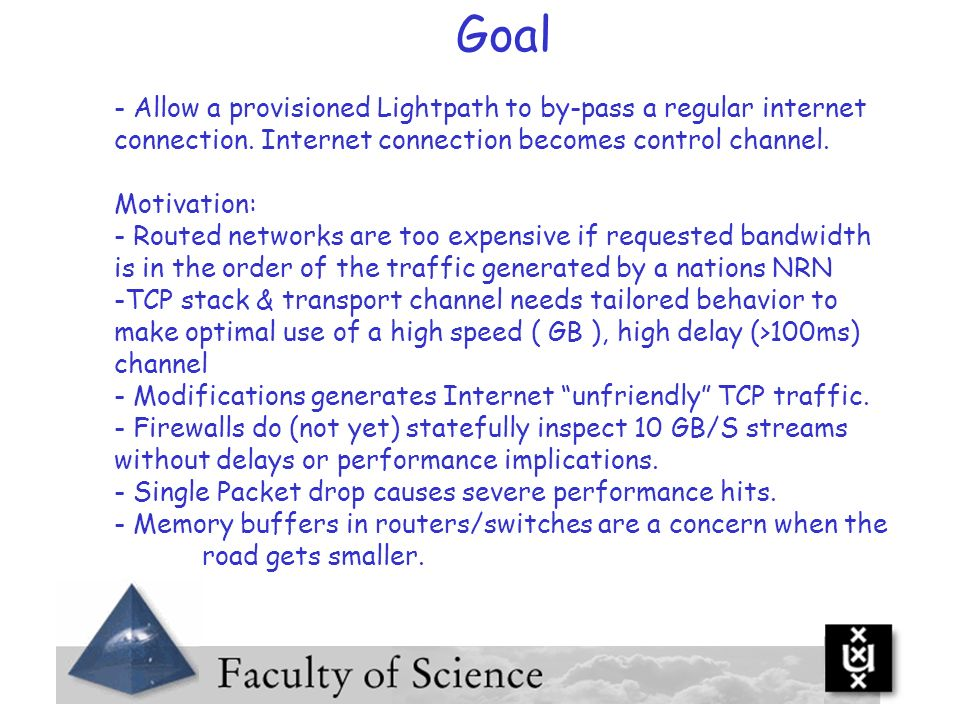 Goal Allow a provisioned Lightpath to by-pass a regular internet connection. Internet connection becomes control channel.