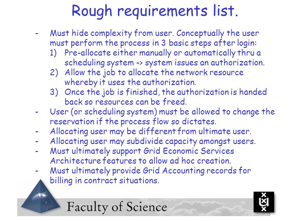 Rough requirements list.