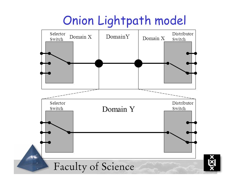 Onion Lightpath model Domain Y DomainY Domain X Domain X Selector