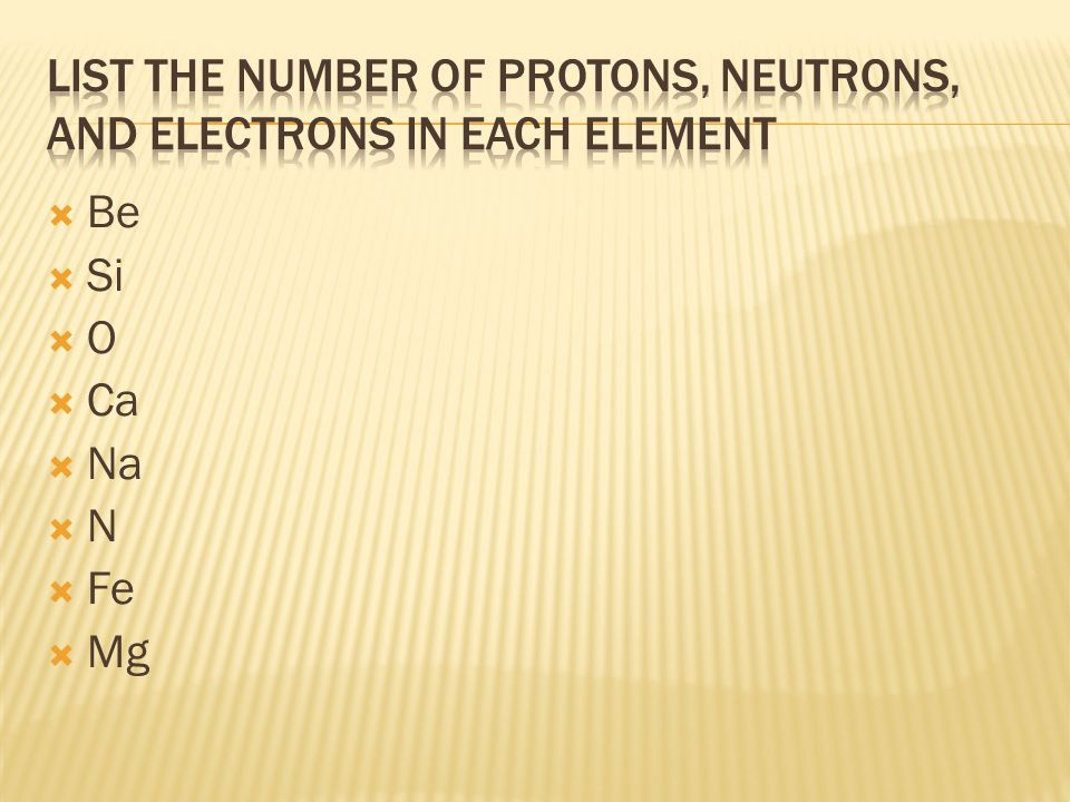 List the number of Protons, Neutrons, and Electrons in each element