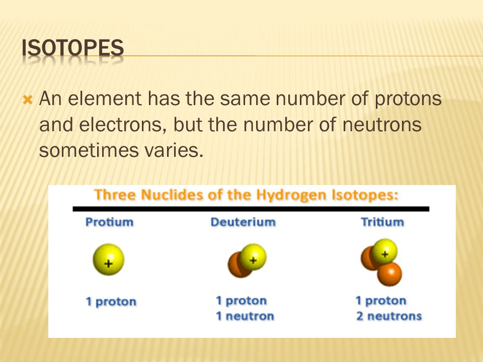 Isotopes An element has the same number of protons and electrons, but the number of neutrons sometimes varies.