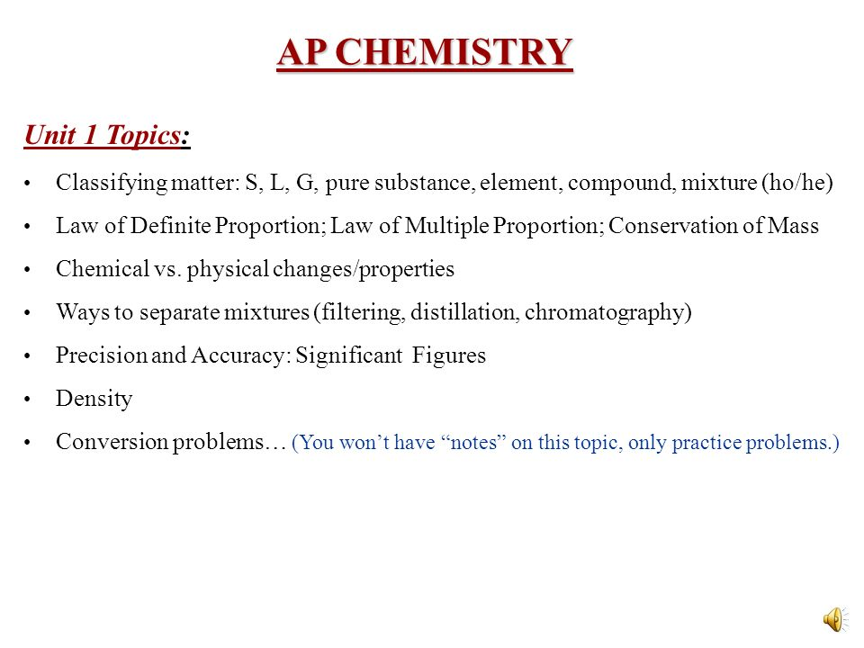 ap chemistry notes Learn the ins and outs of ap® chemistry from award-winning chemistry  professors gordon yee and dean harman they'll teach you the powerful ideas.