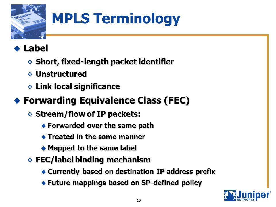 MPLS Terminology Label Forwarding Equivalence Class (FEC)