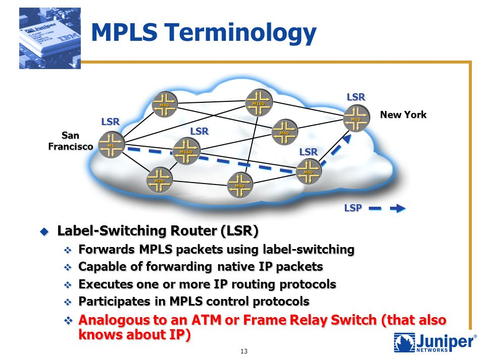 MPLS Terminology Label-Switching Router (LSR)