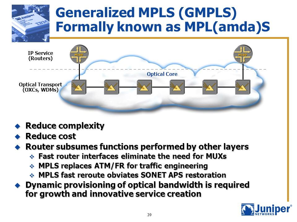 Generalized MPLS (GMPLS) Formally known as MPL(amda)S