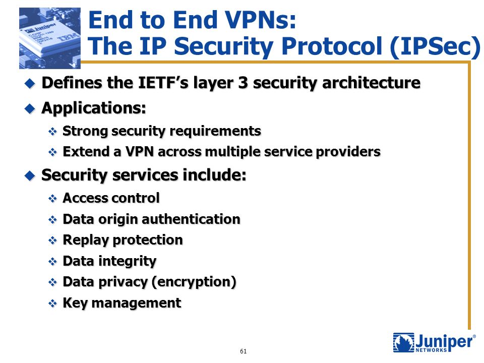 End to End VPNs: The IP Security Protocol (IPSec)