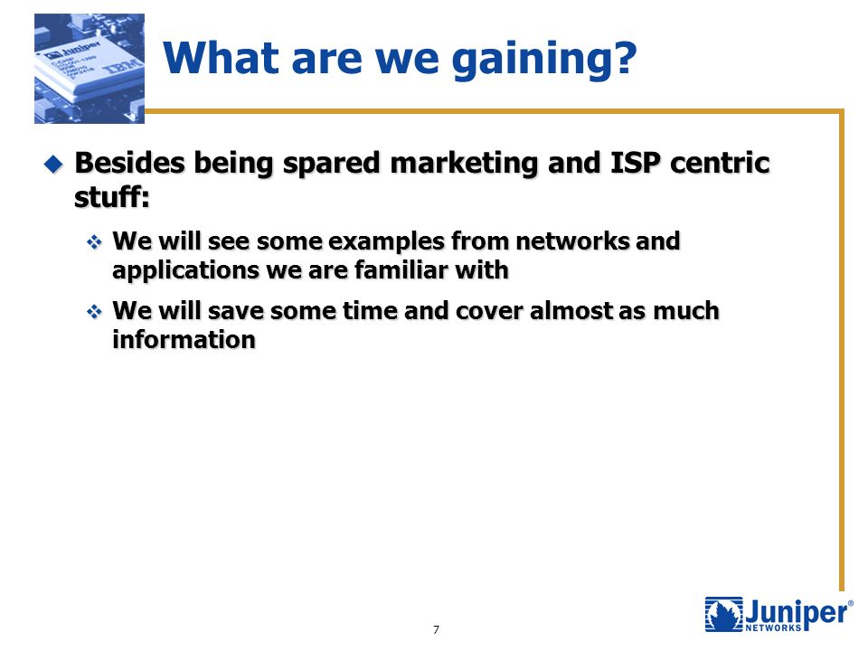 What are we gaining Besides being spared marketing and ISP centric stuff: