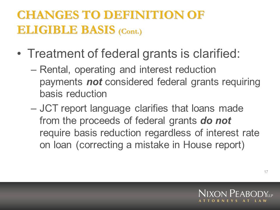CHANGES TO DEFINITION OF ELIGIBLE BASIS (Cont.)