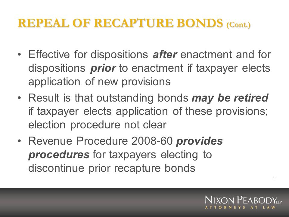 REPEAL OF RECAPTURE BONDS (Cont.)