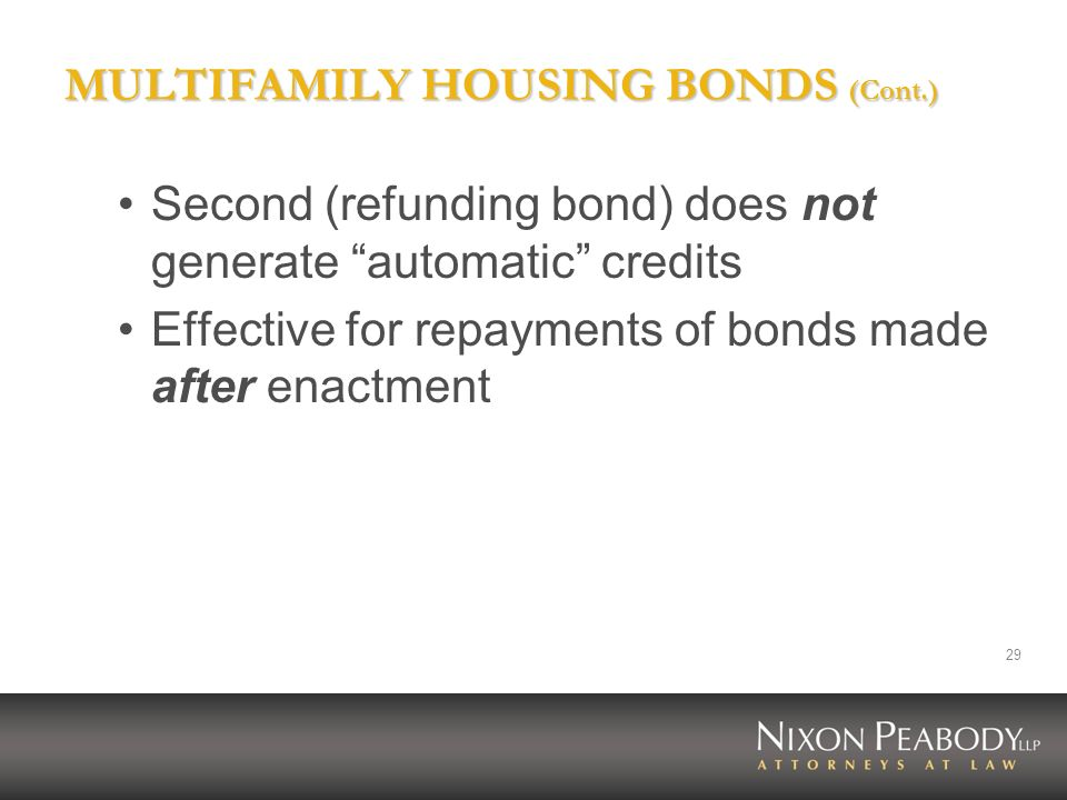 MULTIFAMILY HOUSING BONDS (Cont.)