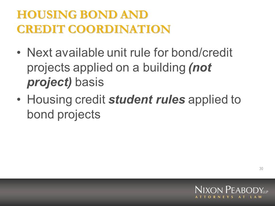 HOUSING BOND AND CREDIT COORDINATION