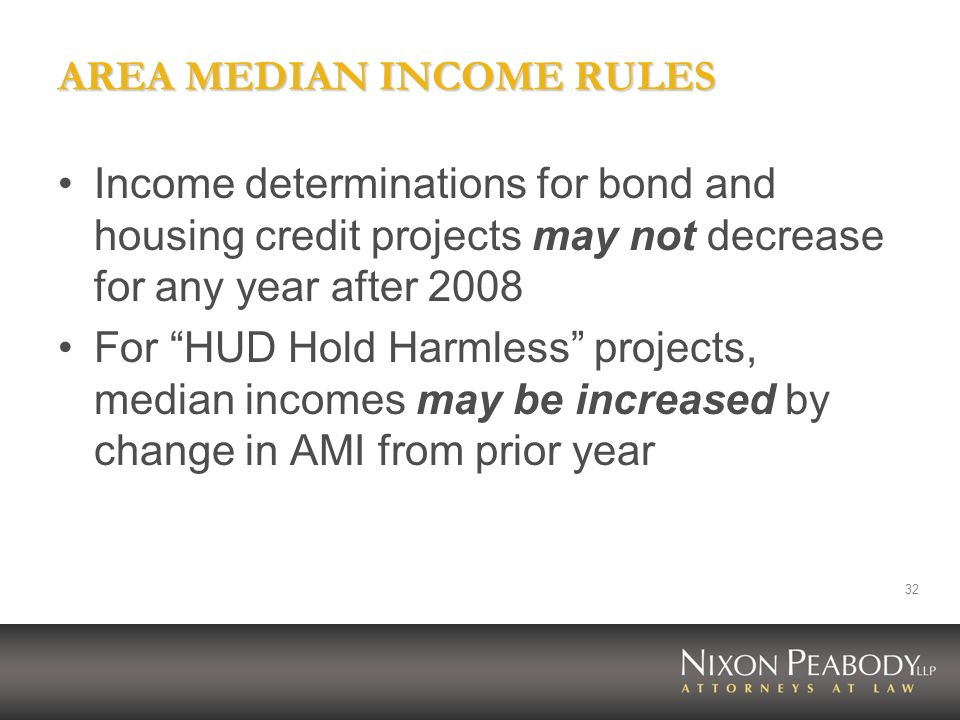 AREA MEDIAN INCOME RULES