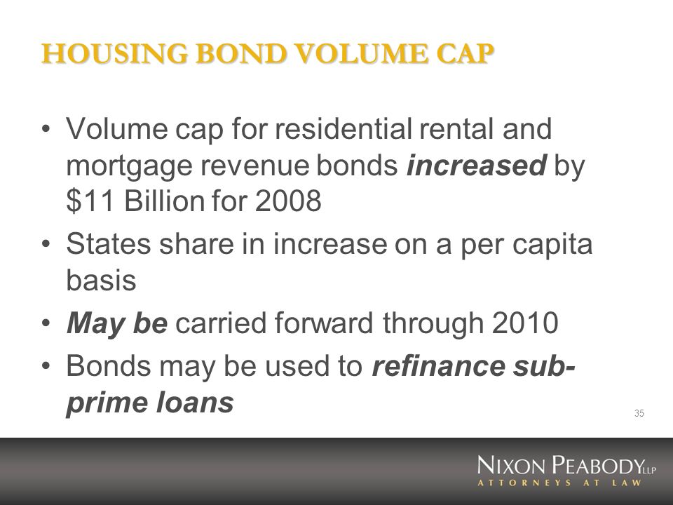 HOUSING BOND VOLUME CAP