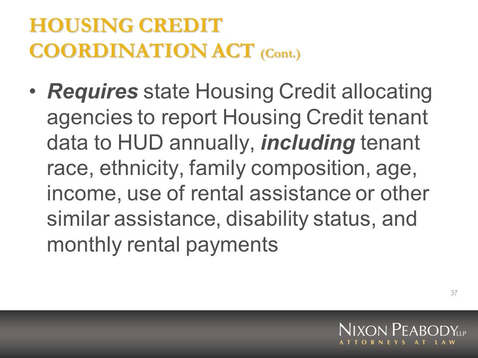 HOUSING CREDIT COORDINATION ACT (Cont.)