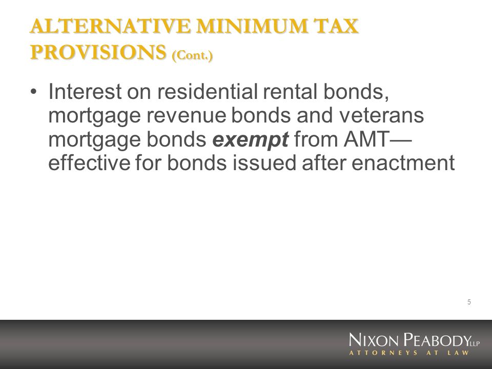 ALTERNATIVE MINIMUM TAX PROVISIONS (Cont.)