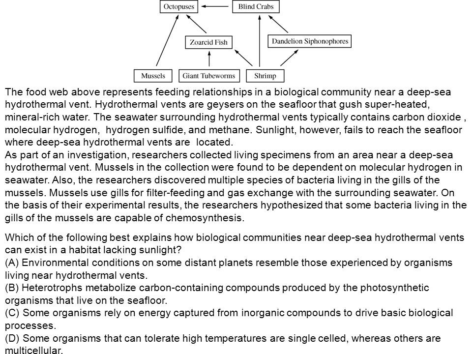 which of the following represents chemosynthesis Pre/post-test cell energy key february 22, 2014 name: _____  chemosynthesis is a process through which some organisms use energy from chemicals in their environment  the numbered boxes in the diagram represent which of the following a 1 - water 2 - nitrogen.