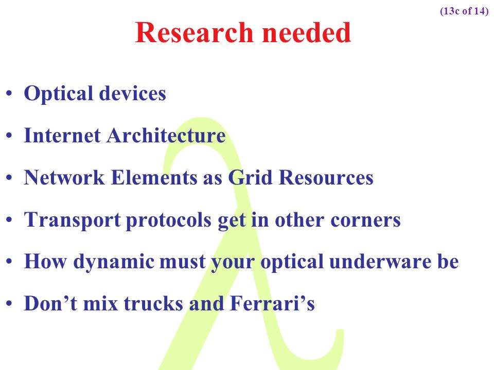 Research needed Optical devices Internet Architecture