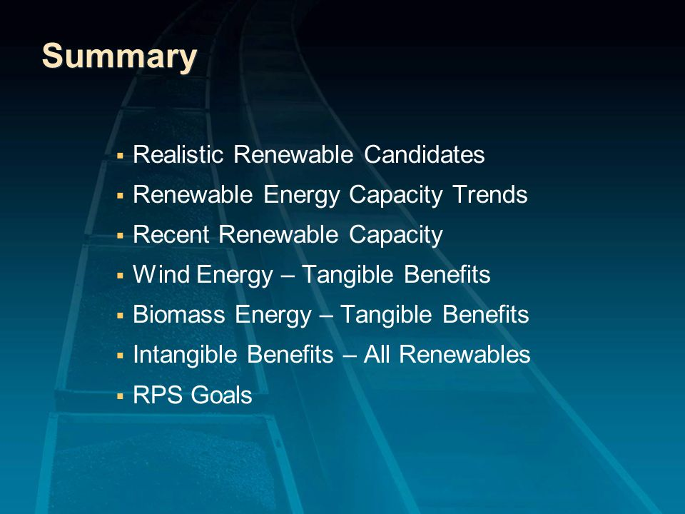 Summary Realistic Renewable Candidates