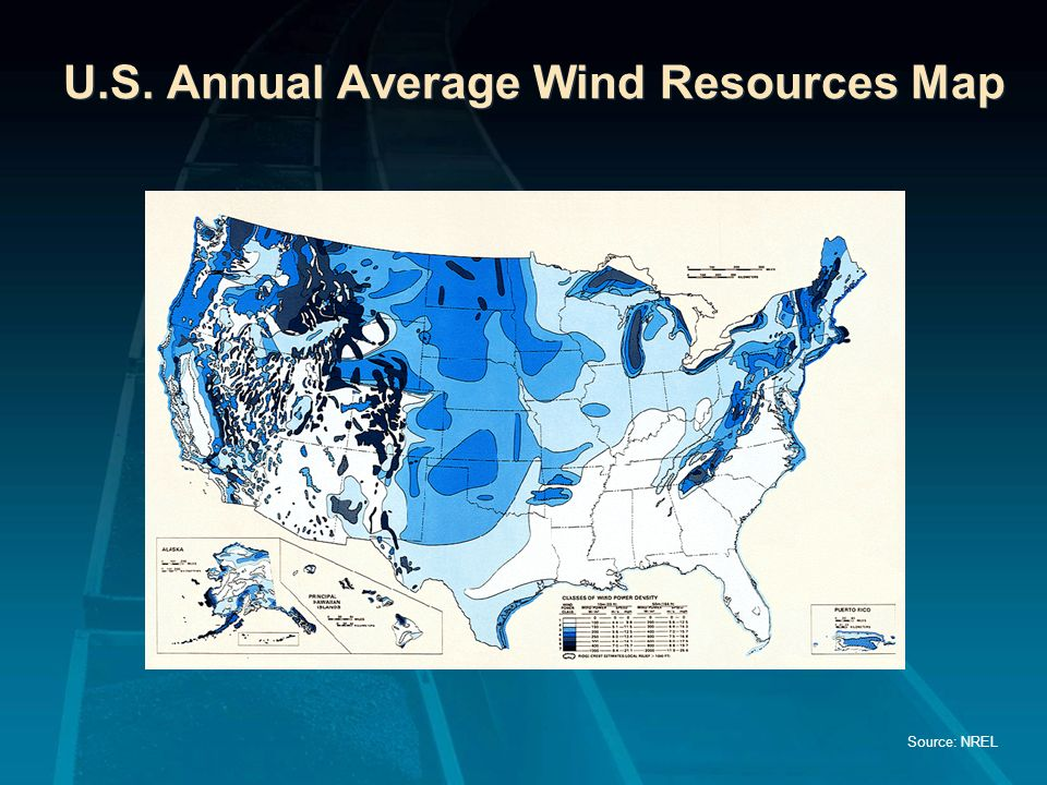 U.S. Annual Average Wind Resources Map
