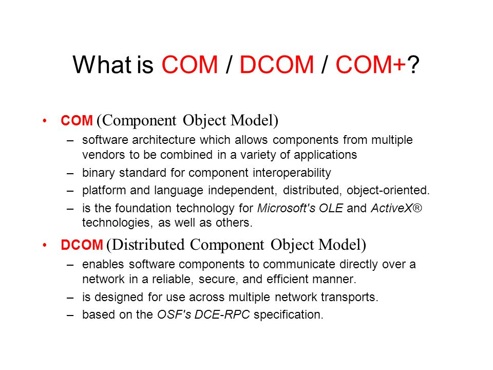 distributed component object model pdf