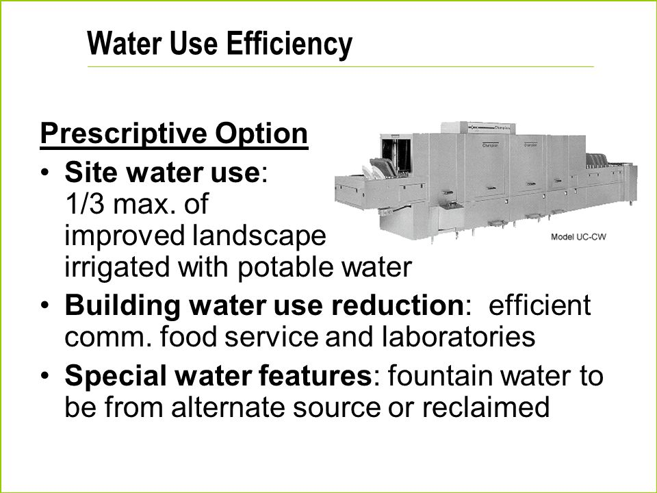 Water Use Efficiency Prescriptive Option