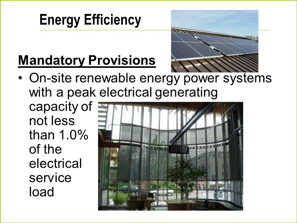 Energy Efficiency Mandatory Provisions