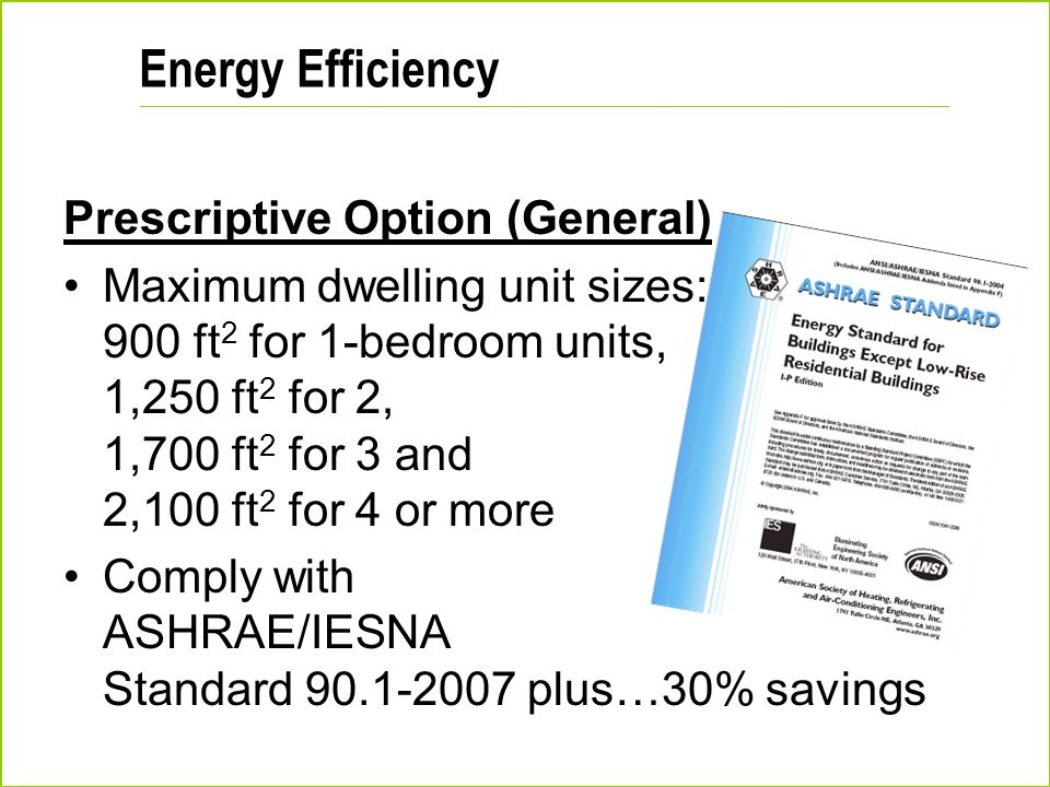 Energy Efficiency Prescriptive Option (General)