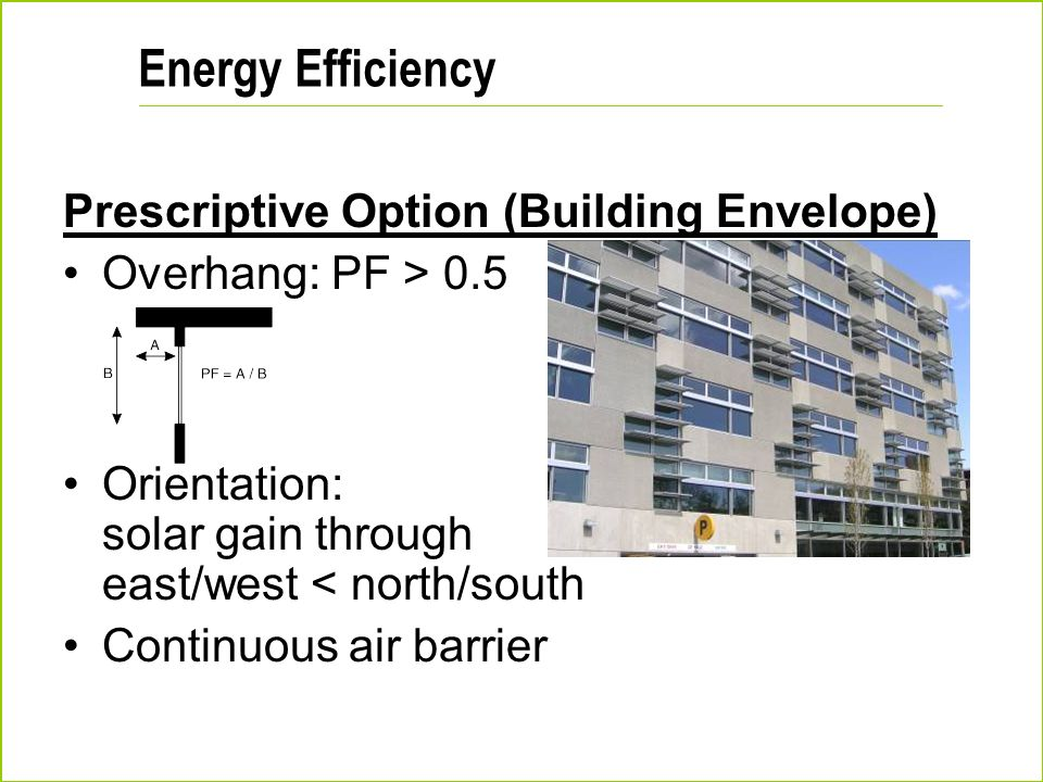 Energy Efficiency Prescriptive Option (Building Envelope)