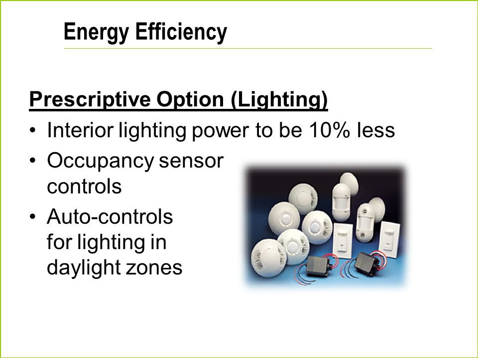 Energy Efficiency Prescriptive Option (Lighting)