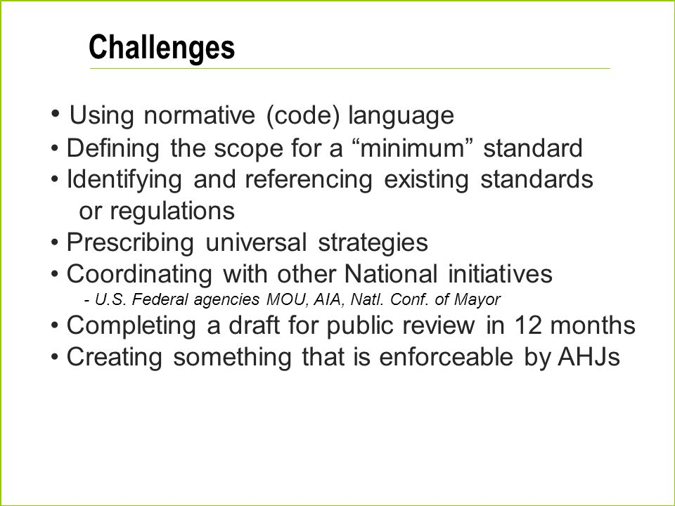Challenges Using normative (code) language