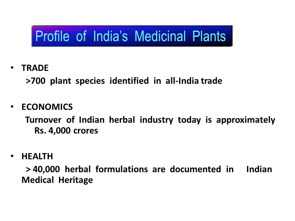 Profile of India's Medicinal Plants