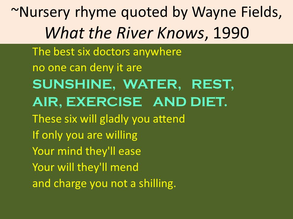 ~Nursery rhyme quoted by Wayne Fields, What the River Knows, 1990