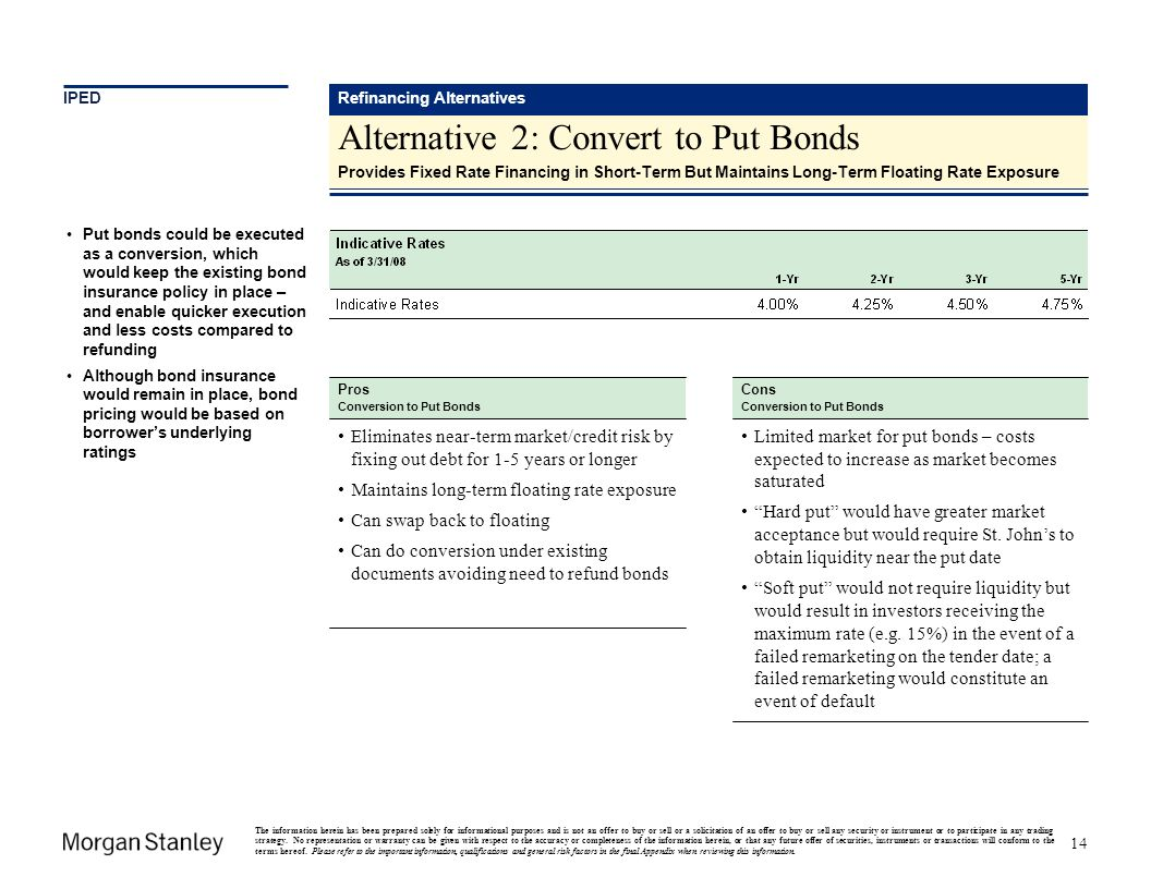 Alternative 2: Convert to Put Bonds
