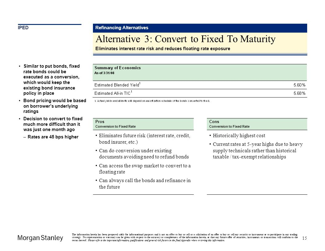 Alternative 3: Convert to Fixed To Maturity