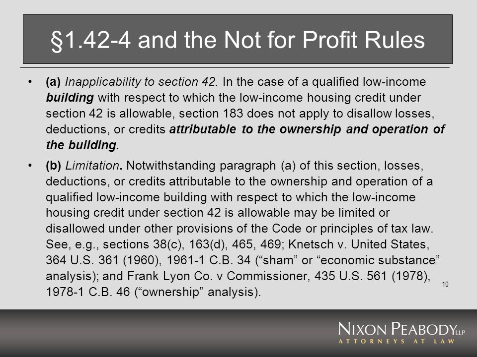 § and the Not for Profit Rules