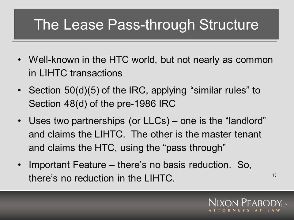 The Lease Pass-through Structure