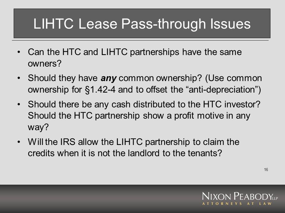 LIHTC Lease Pass-through Issues