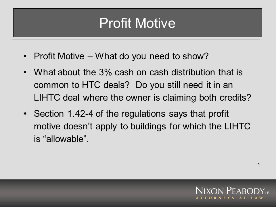 Profit Motive Profit Motive – What do you need to show