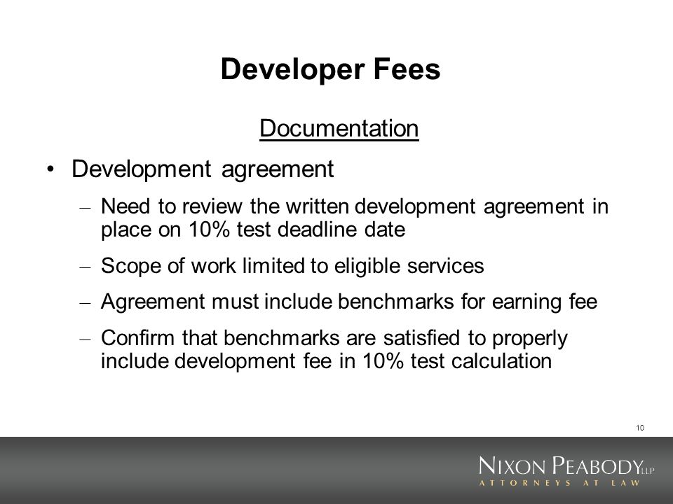 Developer Fees Documentation Development agreement