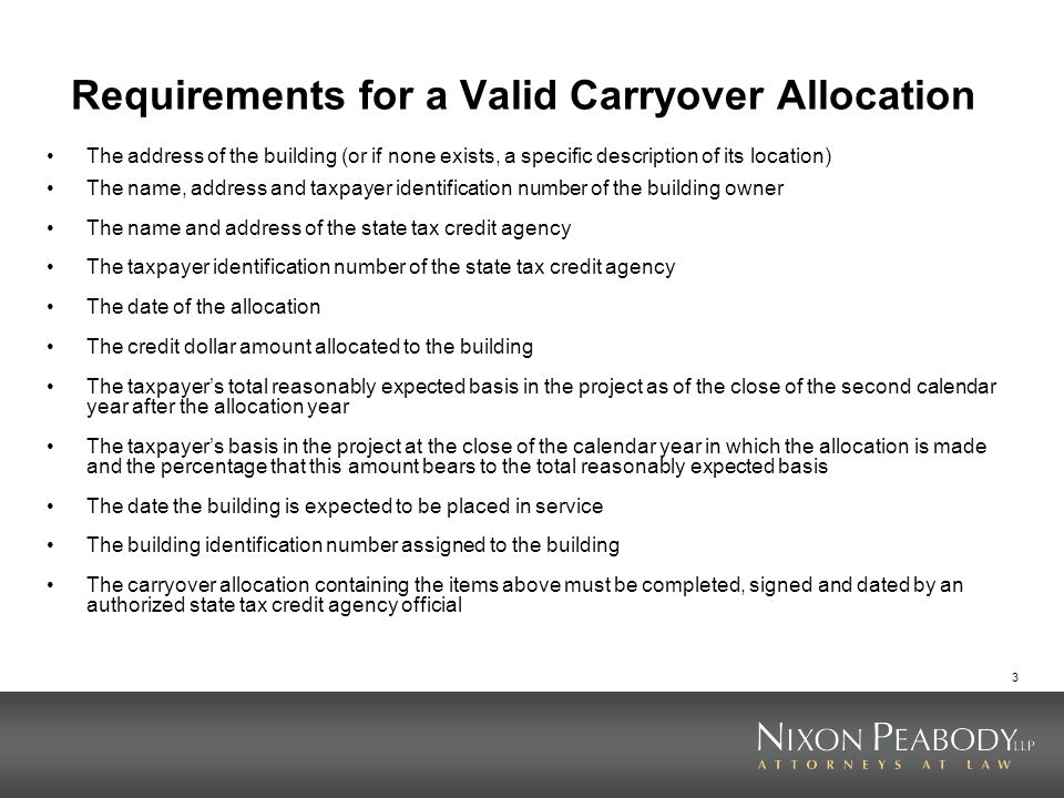Requirements for a Valid Carryover Allocation